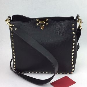 VALENTINO Small Rockstud Leather Hobo